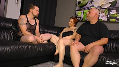 BBW German mature gets drilled by two..