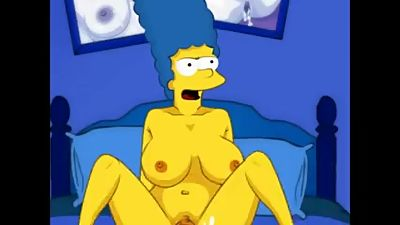 Marge big tits and Homer Simpson big..