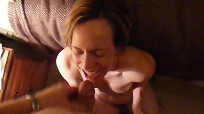 57 Yr Old MILF Sucking to Facial