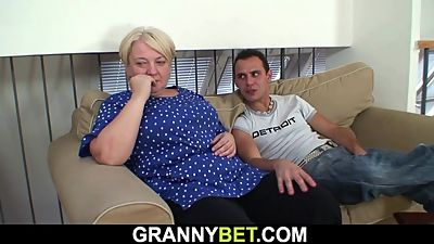 He helps blonde old grandma