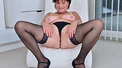 Euro gilf Danja strips off and dildo..