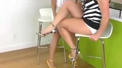 Brunette worships sexy blonde with..