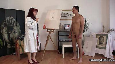 Horny mature woman gets naked and..