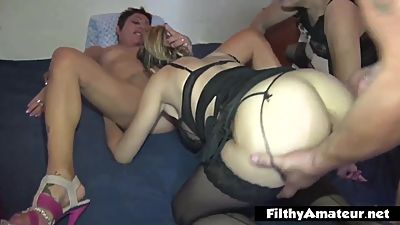 Orgy with 3 mature whores! Anal and..
