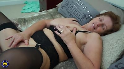 British horny granny with big saggy tits