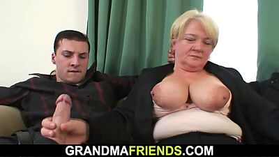 Boozed old granny gets double-banged