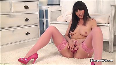 Solo pussy fingering with mature solena