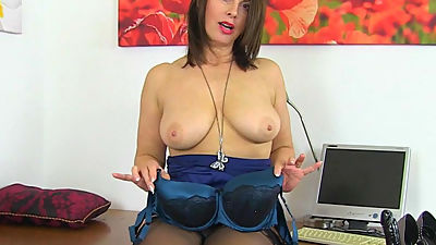 British milf Raven gets creamy for her..