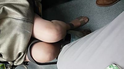 Mature legs on the train