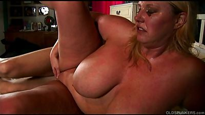 Beautiful big tits blond old spunker..